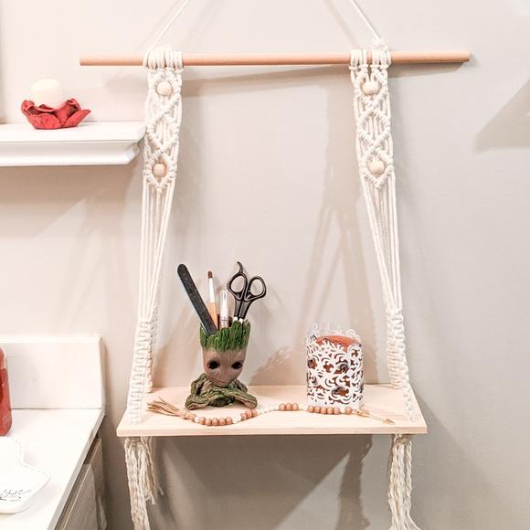 Handmade Other - 100% Cotton Macrame Bohemian Hanging Shelf